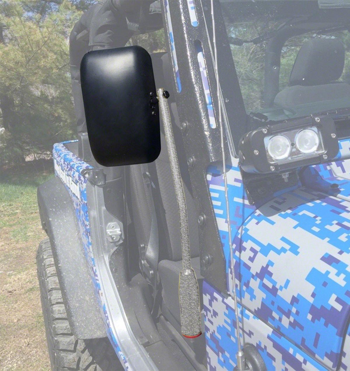 Steinjager Door Hinge Mounted Mirrors - Gray Hammertone (18-19 Jeep Wrangler JL)