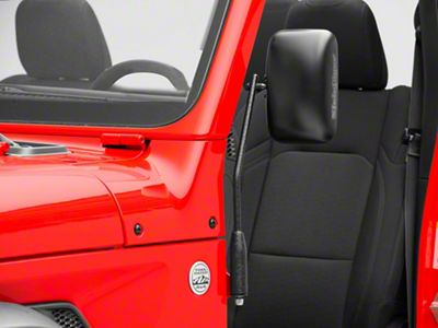 Steinjager Door Hinge Mounted Mirrors - Textured Black (18-19 Jeep Wrangler JL)