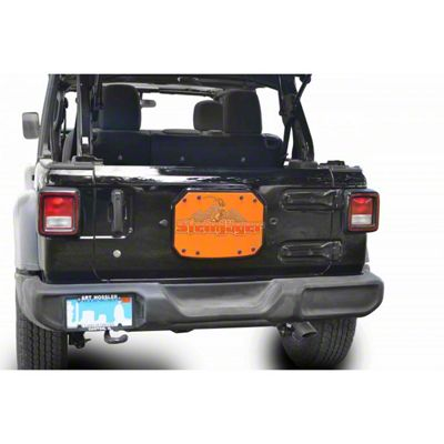 Steinjager Spare Tire Carrier Delete Plate - Fluorescent Orange (18-19 Jeep Wrangler JL)
