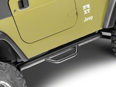 Rugged Ridge Spartan Nerf Side Step Bars - Textured Black (97-06 Jeep Wrangler TJ, Excluding Unlimited)