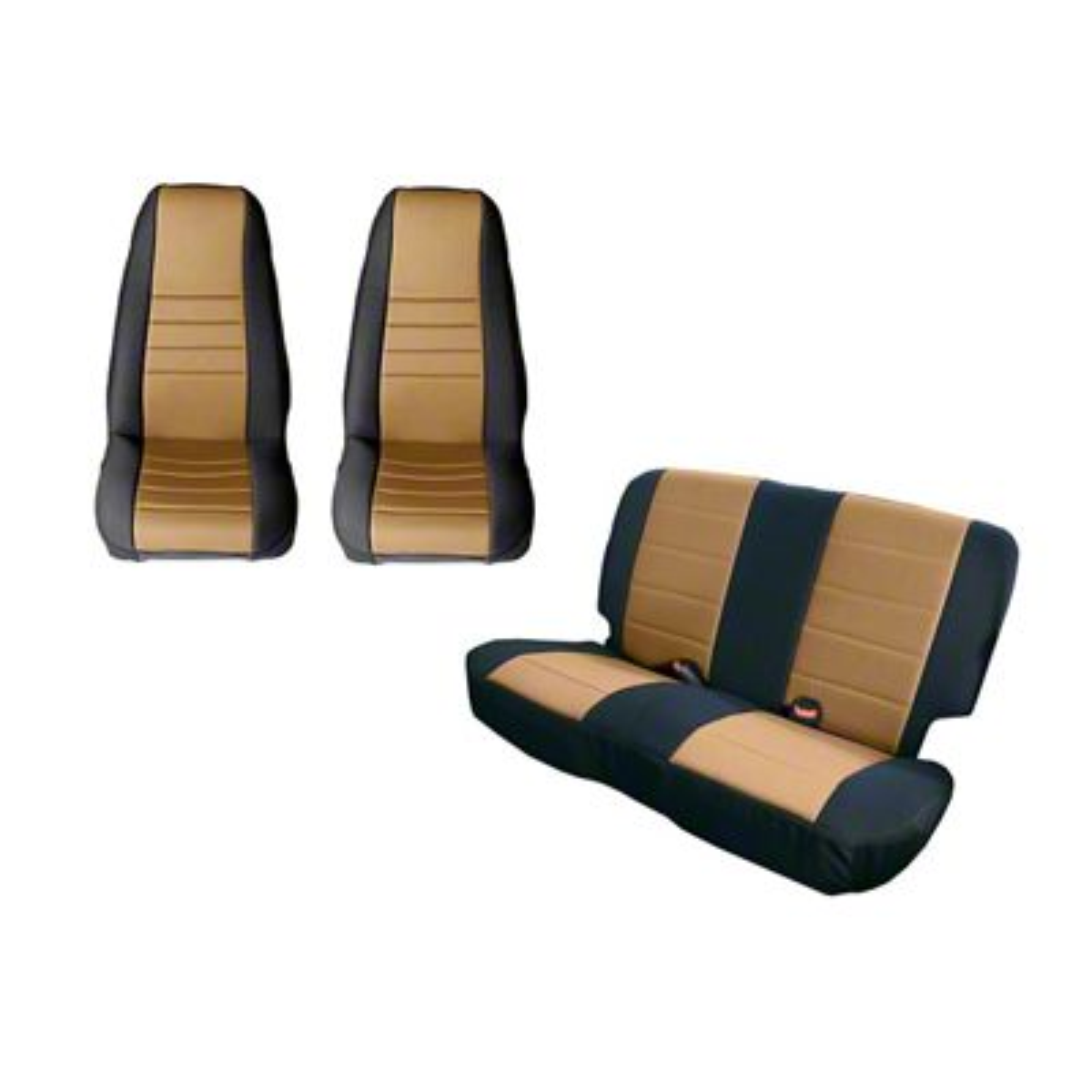 Rugged Ridge Seat Cover Kit - Black/Tan (87-90 Jeep Wrangler YJ)