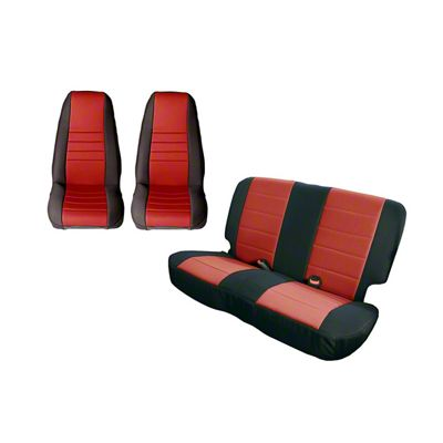 Rugged Ridge Seat Cover Kit - Black/Red (87-90 Jeep Wrangler YJ)