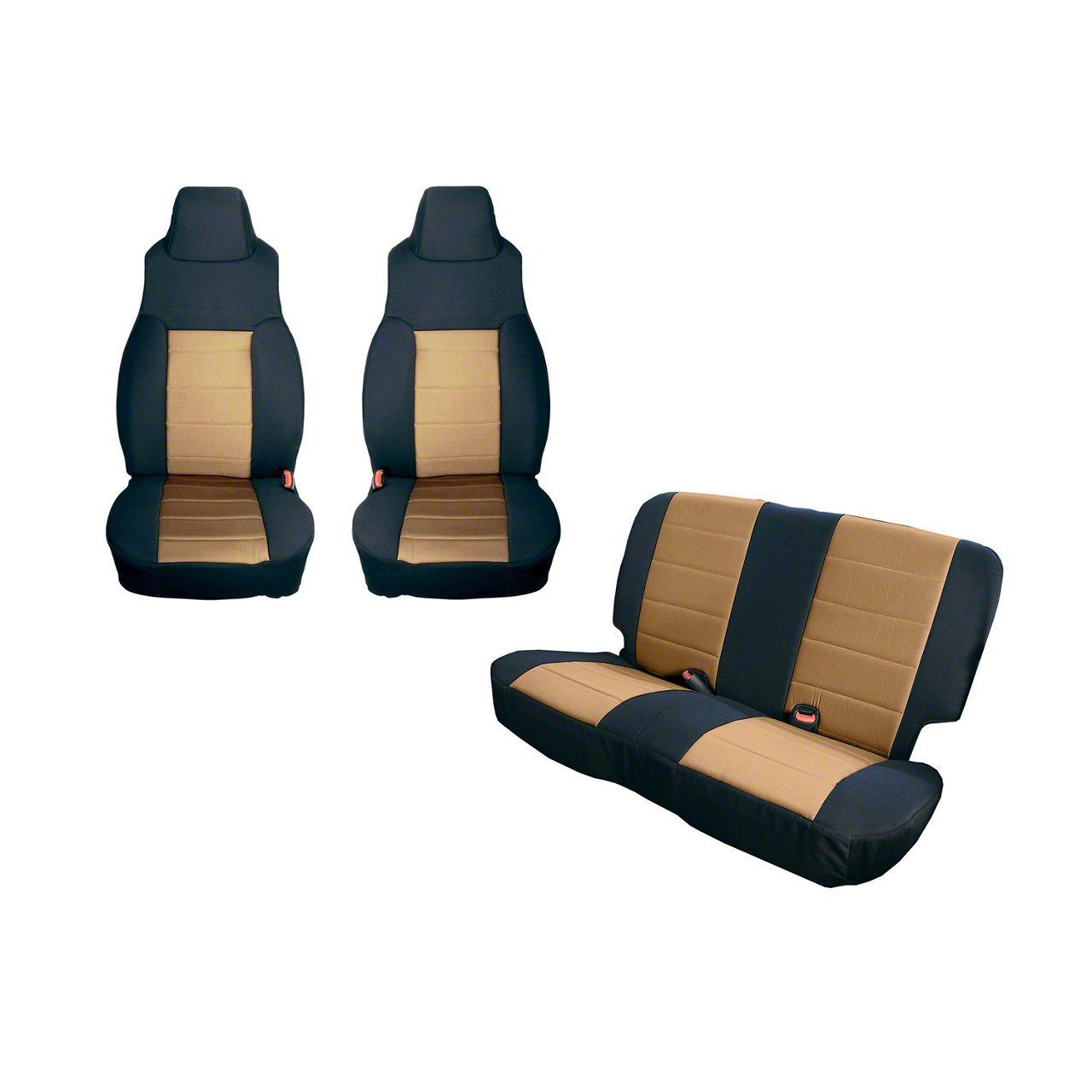 Rugged Ridge Seat Cover Kit - Black/Tan (91-95 Jeep Wrangler YJ)