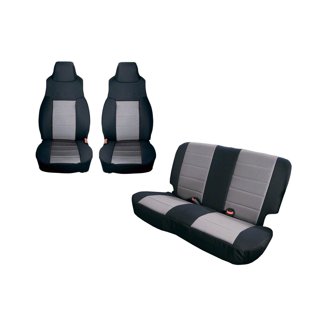 Rugged Ridge Seat Cover Kit - Black/Gray (91-95 Jeep Wrangler YJ)