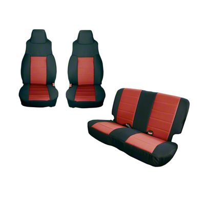 Rugged Ridge Seat Cover Kit - Black/Red (91-95 Jeep Wrangler YJ)