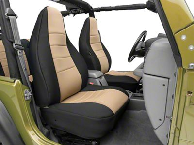 Rugged Ridge Seat Cover Kit - Black/Tan (97-06 Jeep Wrangler TJ)