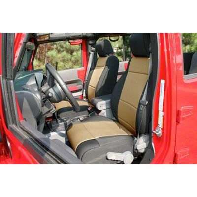 Rugged Ridge Seat Cover Kit - Black/Tan (11-18 Jeep Wrangler JK 4 Door)
