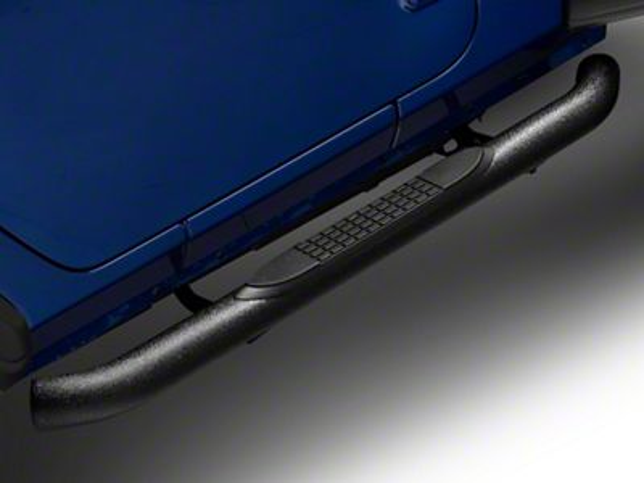 RedRock 4x4 3 in. Round Curved Side Step Bars - Textured Black (18-19 Jeep Wrangler JL 2 Door)