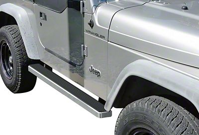 APS Auto 4 in. iStep Running Boards - Hairline Silver (87-06 Wrangler YJ & TJ, Excluding Unlimited)