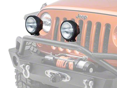 Rugged Ridge 6 in. Round HID Off-Road Fog Lights - Black - Pair (87-13 Jeep Wrangler YJ, TJ & JK)