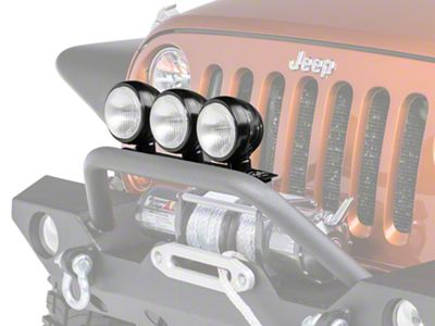 Rugged Ridge 5 in. Round HID Off-Road Fog Lights w/ Black Steel Housings - Set of Three (87-18 Jeep Wrangler YJ, TJ, JK & JL)