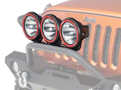 Rugged Ridge 7 in. Round HID Off-Road Fog Lights - Set of Three (87-18 Jeep Wrangler YJ, TJ, JK & JL)