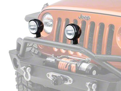 Rugged Ridge 5 in. Round HID Off-Road Fog Light w/ Black Steel Housing - Single (87-18 Jeep Wrangler YJ, TJ, JK & JL)