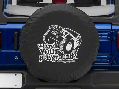 Where's Your Playground w/ Jeep Spare Tire Cover (87-18 Jeep Wrangler YJ, TJ, JK & JL)