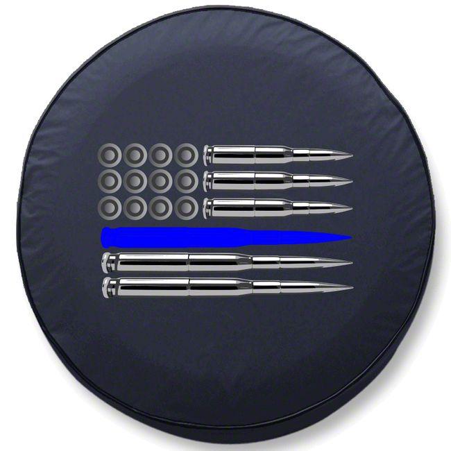 Police Thin Blue Line Ammo Flag Spare Tire Cover (87-18 Jeep Wrangler YJ, TJ, JK & JL)
