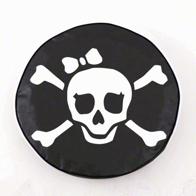 White Pirate Girl Spare Tire Cover - Black (87-18 Jeep Wrangler YJ, TJ, JK & JL)