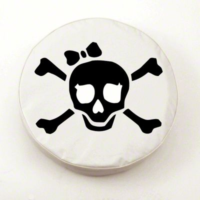 White Pirate Girl Spare Tire Cover - White (87-18 Jeep Wrangler YJ, TJ, JK & JL)
