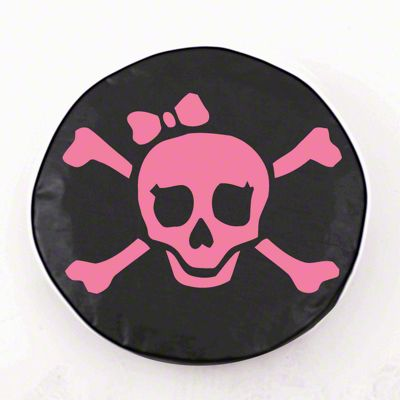 Pink Pirate Girl Logo Spare Tire Cover - Black (87-18 Jeep Wrangler YJ, TJ, JK & JL)