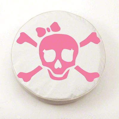 Pink Pirate Girl Logo Spare Tire Cover - White (87-18 Jeep Wrangler YJ, TJ, JK & JL)