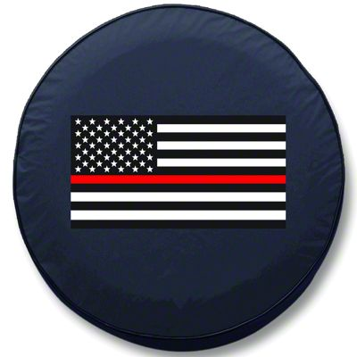 Thin Red Line American Flag Spare Tire Cover (87-18 Jeep Wrangler YJ, TJ, JK & JL)