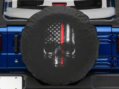 Firefighters Thin Red Line Skull Spare Tire Cover (87-18 Jeep Wrangler YJ, TJ, JK & JL)