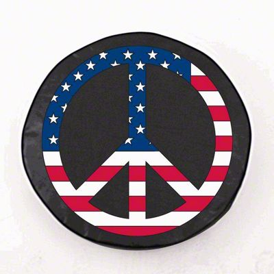 USA Peace Style 1 Spare Tire Cover - Black (87-18 Jeep Wrangler YJ, TJ, JK & JL)