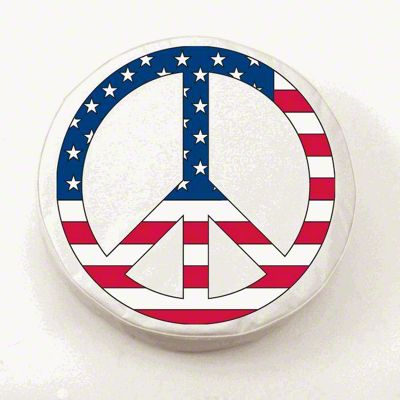 USA Peace Style 1 Spare Tire Cover - White (87-18 Jeep Wrangler YJ, TJ, JK & JL)