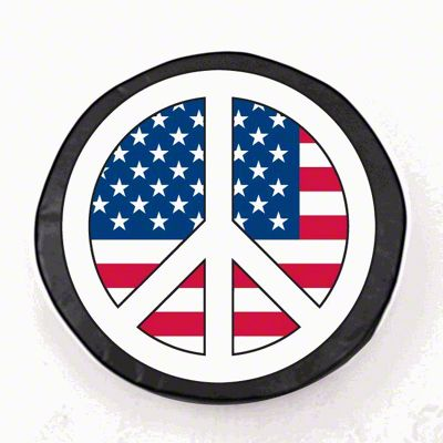 USA Peace Style 2 Spare Tire Cover - Black (87-18 Jeep Wrangler YJ, TJ, JK & JL)