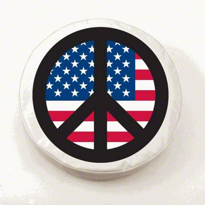 USA Peace Style 2 Spare Tire Cover - White (87-18 Jeep Wrangler YJ, TJ, JK & JL)