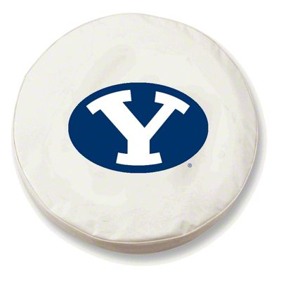 Brigham Young Spare Tire Cover - White (87-18 Jeep Wrangler YJ, TJ, JK & JL)