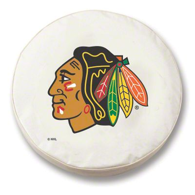 Chicago Blackhawks Spare Tire Cover - White (87-18 Jeep Wrangler YJ, TJ, JK & JL)