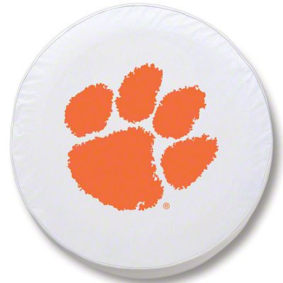 Clemson University Spare Tire Cover - White (87-18 Jeep Wrangler YJ, TJ, JK & JL)