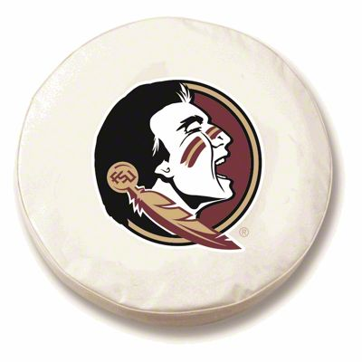 Florida State University Head Spare Tire Cover - White (87-18 Jeep Wrangler YJ, TJ, JK & JL)