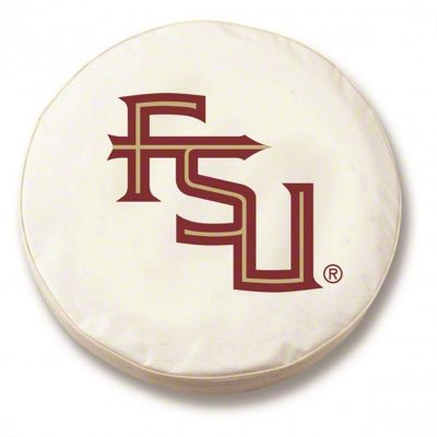 Florida State University Script Spare Tire Cover - White (87-18 Jeep Wrangler YJ, TJ, JK & JL)