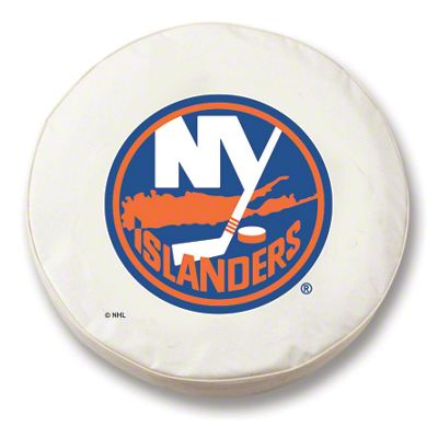 New York Islanders Spare Tire Cover - White (87-18 Jeep Wrangler YJ, TJ, JK & JL)
