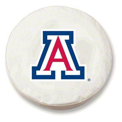 University of Arizona Spare Tire Cover - White (87-18 Jeep Wrangler YJ, TJ, JK & JL)