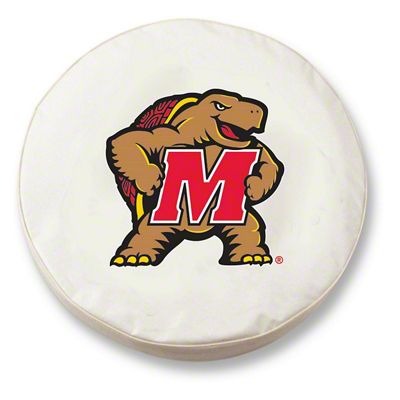 University of Maryland Spare Tire Cover - White (87-18 Jeep Wrangler YJ, TJ, JK & JL)