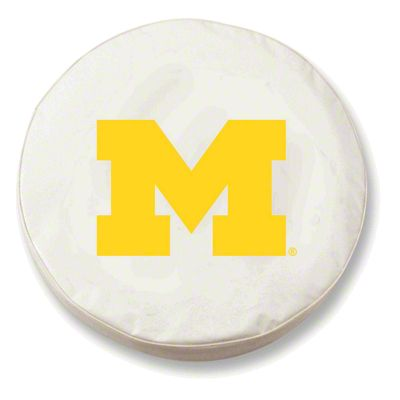 University of Michigan Spare Tire Cover - White (87-18 Jeep Wrangler YJ, TJ, JK & JL)