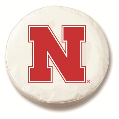 University of Nebraska Spare Tire Cover - White (87-18 Jeep Wrangler YJ, TJ, JK & JL)