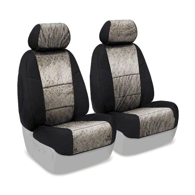 Coverking Mossy Oak Neosupreme Front Seat Covers - Brush/Black (07-18 Jeep Wrangler JK)