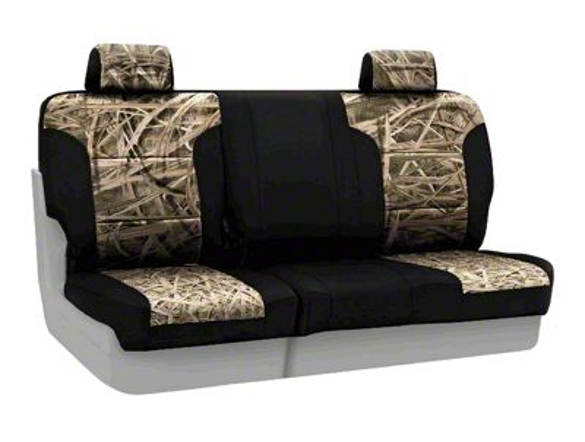 Coverking Mossy Oak Neosupreme Rear Seat Covers - Shadow Grass/Black (07-18 Jeep Wrangler JK)