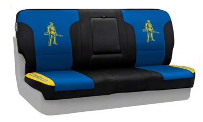 Coverking West Virginia University Rear Seat Covers (87-95 Jeep Wrangler YJ)