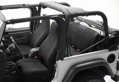 Coverking Neoprene Front Seat Covers w/ Jeep Logo - Black (87-95 Jeep Wrangler YJ)