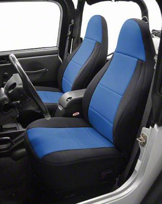 Coverking Neoprene Front Seat Covers w/ Jeep Logo - Blue (97-06 Jeep Wrangler TJ)