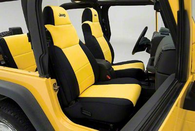 Coverking Neoprene Front Seat Covers w/ Jeep Logo - Yellow (97-06 Jeep Wrangler TJ)