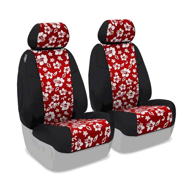 Coverking Neoprene Hawaiian Print Front Seat Covers - Red (14-18 Jeep Wrangler JK)
