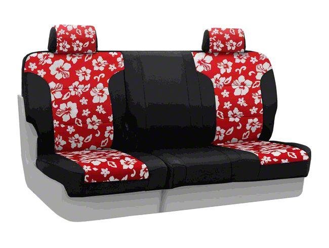 Coverking Neoprene Hawaiian Print Rear Seat Covers - Red (14-18 Jeep Wrangler JK)