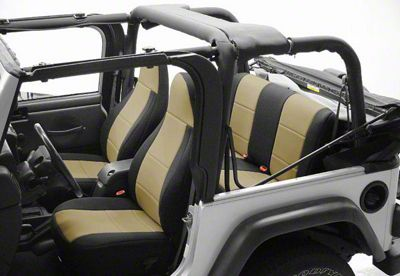 Coverking Neoprene Rear Seat Covers w/ Jeep Logo - Tan (87-95 Jeep Wrangler YJ)
