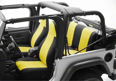 Coverking Neoprene Rear Seat Covers w/ Jeep Logo - Yellow (97-06 Jeep Wrangler TJ)