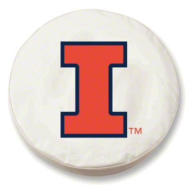 University of Illinois Spare Tire Cover - White (87-18 Jeep Wrangler YJ, TJ, JK & JL)